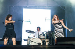 Nouvelle vague singers. Nouvelle vague on stage at the Bucharest Greensounds festival 2015 going wild Royalty Free Stock Image