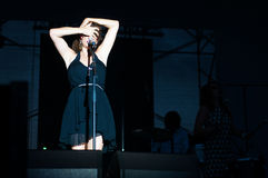 Nouvelle vague soloist. Nouvelle vague on stage at the Bucharest Greensounds festival 2015 Stock Photography