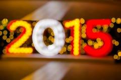 2015 nouvelles années avec le fond brouillé de bokeh Photos libres de droits