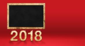 2018 nouvelles années avec le tableau noir vide au contexte rouge de studio, Holi Photographie stock
