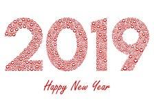 2019 nouvelles années avec les icônes rouges de coeur d'amour illustration stock