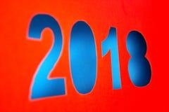 2018 nouvelles années coupées du papier rouge Images stock