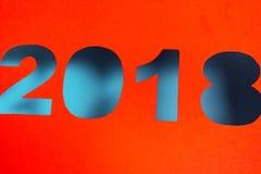 2018 nouvelles années coupées du papier rouge Photos stock