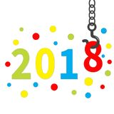 2018 nouvelles années Crane Hook Point rond coloré Calibre pour la carte de voeux, le calendrier, la présentation, l'insecte, le  Photos libres de droits
