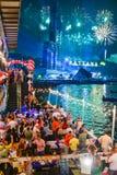 Nouvelles années d'Eve Thailand Fireworks Photos stock