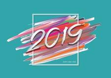 2019 nouvelles années d'un traçage coloré avec la vue, design de carte de bonne année, calibre de bannière de Web, affiche, carte illustration libre de droits