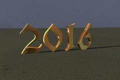 2016 nouvelles années dans des nombres brillants d'or Photo stock
