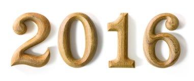 2016 nouvelles années dans la forme d'en bois Photos libres de droits