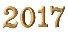 2017 nouvelles années dans la forme d'en bois Photos stock
