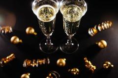 Nouvelles années de célébration de la veille avec le champagne photos libres de droits