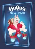 2018 nouvelles années de conception de décoration de vacances de concept de carte de voeux de chien Image libre de droits