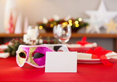 Nouvelles années de dîner d'arrangement de table Images libres de droits