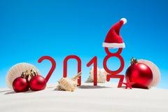 Nouvelles années de fête de concept avec des coquillages Photos libres de droits