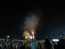 Nouvelles années de feux d'artifice éclatés dans le ciel Photos libres de droits