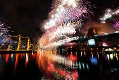 Nouvelles années de feux d'artifice, Australie Image stock