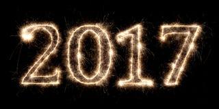 2017 nouvelles années de feux d'artifice d'evel avec le nombre rougeoyant Photo stock