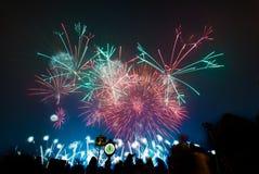 Nouvelles années de feux d'artifice de la veille photos libres de droits