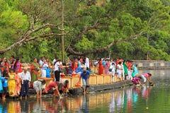 Nouvelles années de jour dans le lac sacré, Îles Maurice Photographie stock