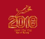 Nouvelles années 2018 de ligne polygonale fond de lumière Année du chien illustration libre de droits