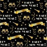 Nouvelles années de modèle de la veille 2019 avec des bannières d'or, des verres, des étoiles et des flammes de confettis illustration de vecteur