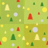 Nouvelles années de texture avec des arbres et des boules de Noël illustration de vecteur