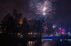 Nouvelles années de veille dans Norrkoping Suède Photo libre de droits
