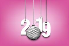 2019 nouvelles années et boule de golf accrochant sur des ficelles illustration de vecteur