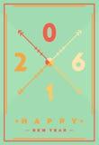 2016 nouvelles années heureuse, thème minimal de carte de voeux Vecteur à plat malade Photographie stock libre de droits