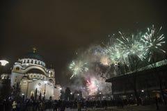 Nouvelles années orthodoxes de célébration de la veille Images libres de droits