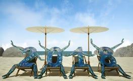 2018 nouvelles années sur la plage, rendu 3D Photo libre de droits