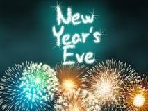 Nouvelles années de la veille d'anniversaire de feu d'artifice de célébration de turquoise de partie Images stock