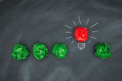Nouvelles bonnes idées, boule de papier colorée sur le tableau noir Images libres de droits