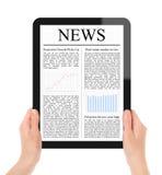 Nouvelles du relevé sur le PC de tablette Photos libres de droits