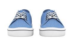 Nouvelles espadrilles bleues sans marque de denim rendu 3d Photographie stock libre de droits