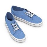 Nouvelles espadrilles bleues sans marque de denim rendu 3d Photo stock
