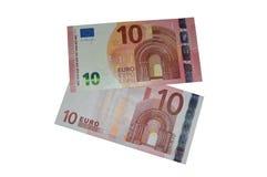 Nouvelles et vieilles dix euro séries d'europa de billet de banque Image libre de droits