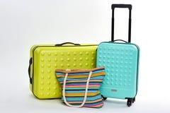 Nouvelles grandes valises, sac à main de textile Image stock
