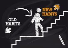 Nouvelles habitudes de vieilles habitudes illustration libre de droits