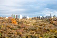 Nouvelles maisons préfabriquées sur la colline au-dessus de la forêt Images libres de droits