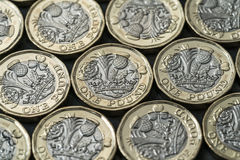 Nouvelles pièces de monnaie de livre présentées en Grande-Bretagne en 2017 Images stock