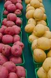 Nouvelles pommes de terre rouges et blanches dans les paniers photos libres de droits