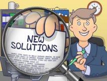 Nouvelles solutions par la loupe Conception de griffonnage Images stock