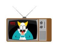 Nouvelles vieille TV d'horreur Clow de radiodiffusion terrible d'Angry de journaliste illustration stock