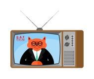 Nouvelles vieille TV de chat Radiodiffusion vivante d'animal familier Jour de radiodiffusion animal illustration libre de droits