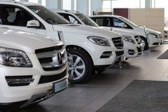 Nouvelles voitures de marque sur le marché automatique Images libres de droits