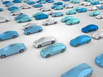 Nouvelles voitures en position de stationnement Photos stock