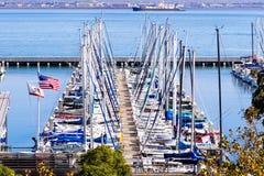 Free Nov 2, 2019 San Francisco / CA / USA - Boats Moored At The South Beach Harbor; The American Flag And The California Republic Flag Stock Photo - 163897640