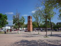 18 NOV 2017, CHIAPA DE CORZO, MEXICO - People relax around the clock tower in the main square of Chiapa de Corzo. A pretty town in Chiapas State in the south royalty free stock photos