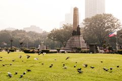 Rizal monument in Rizal park in Manila, Philippines. NOV 20, 2012 Manila, Philippines : Rizal monument in Rizal park in Manila., Jose Rizal monument in evening royalty free stock photography