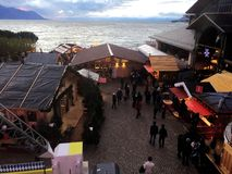2017 Nov 24 Montreux Swiss - Aerial view of Christmas Market and old city in Montreux, Switzerland.  Royalty Free Stock Images